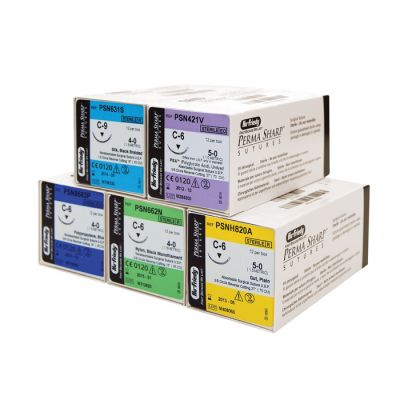Perma Sharp® Sutures - Non-Absorbable Polyester Green Braided